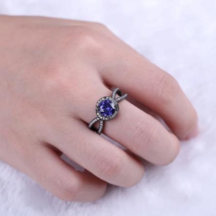bague anniversaire diamant bleu