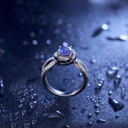 bague femme diamant bleu